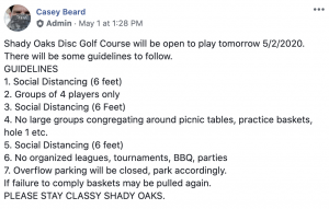 Shady Oaks DGC COVID-19 guidelines